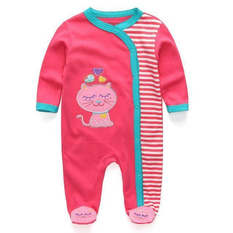 Pink Kitten One Piece Jumpsuit Pajamas - Combination - Kids Clothing 12M - Serene Parents