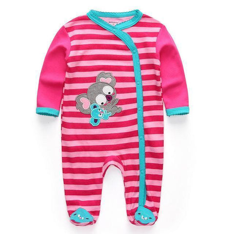 Striped Pajamas Pink Koala One Piece Jumpsuit Pajamas - Combination - Kids Clothing 12M - Serene Parents