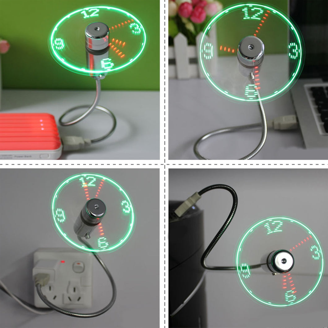 Flexible LED Light USB Fan w/ Clock