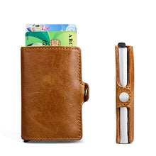 Load image into Gallery viewer, RFID-proof Wallet Genuine Leather Aluminum Automatic Pop Up Card