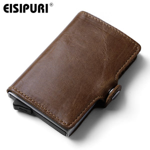 RFID-proof Wallet Genuine Leather Aluminum Automatic Pop Up Card