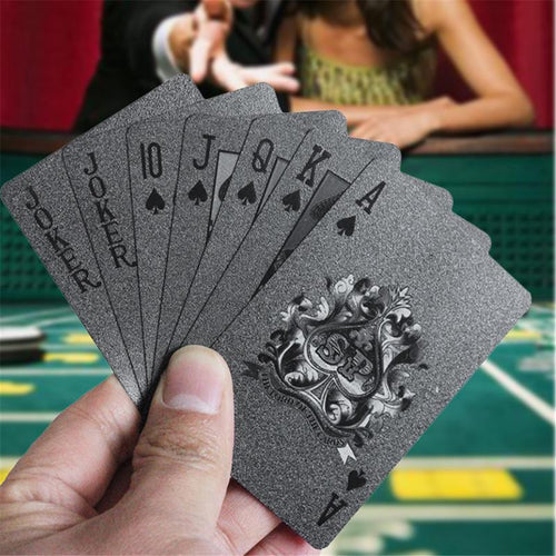 Waterproof Black Matte Plastic Poker Cards