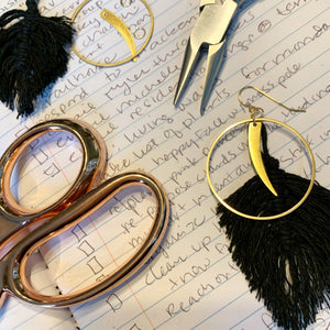 Feather Crescent Macramé Earrings