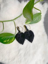 Load image into Gallery viewer, Feather Crescent Macramé Earrings - Jumbo