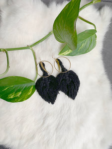 Feather Crescent Macramé Earrings - Jumbo