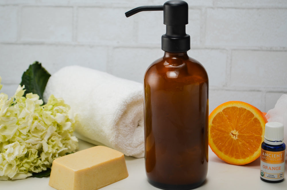 Homemade Shower Gel with Orange Essential Oil