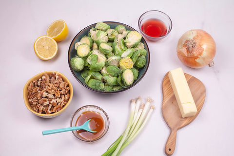 Baked Brussels sprouts with honey glaze ingredients