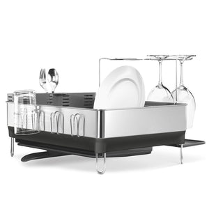 simplehuman Steel Frame Dish Rack with Wine Glass Holder KT1154