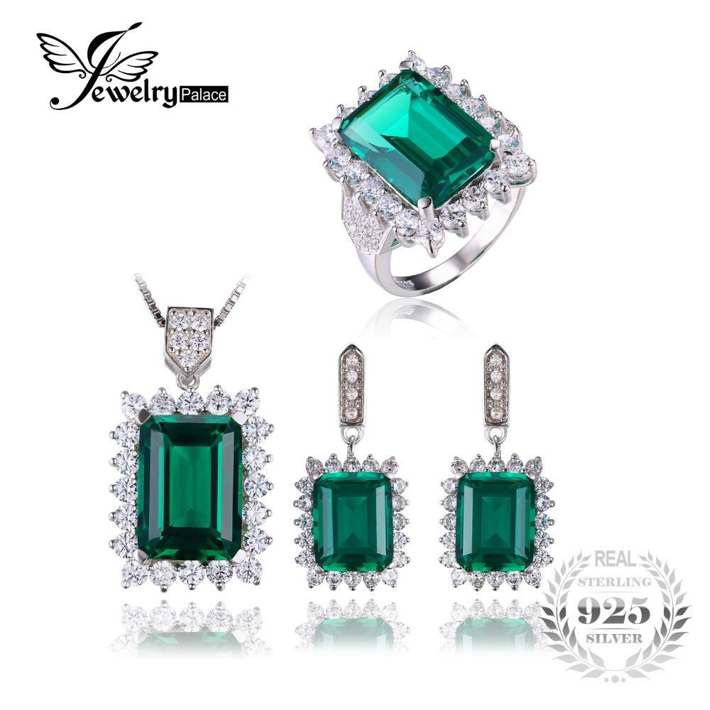 Created Emerald Jewelry Set Solid 925 Sterling Silver Ring Necklace Pendant  Earring Clip Bracelet Women Bridal Jewelry Set fae1183eedd4