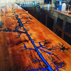 Custom Bar Top with Fractal Burning - Inspire Woodworks