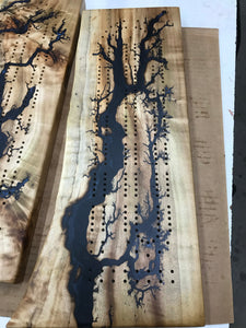 #28 Hickory Blue Fractal Burned Charcuterie Board