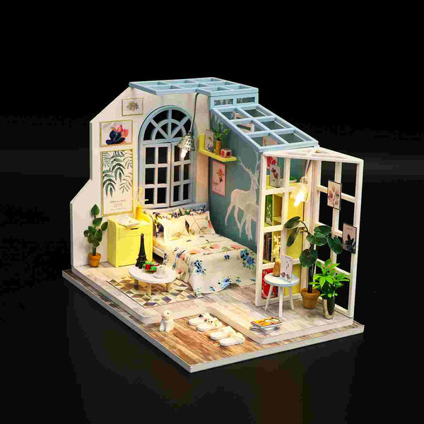 Assemble Wooden Kids Toy Miniature Dollhouse 'Family Nap' w/ LEDs and Dust Proof Cover and Glue Birthday Present