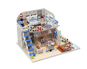 DIY M032 'Blue Coast' Wooden Kids Toy Miniature Doll House w/ LEDs and Dust Proof Cover