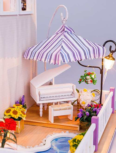 "Hoomeda Dollhouse 13834 ""Musical Summer"" w/ Dust Proof Cover, Glues and LED Lights, Wooden Miniature Dollhouse Anniversary Gifts Birthday Presents"