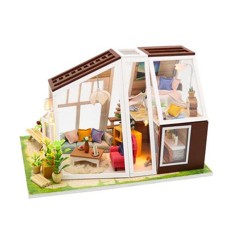 DIY M902 'The Aurora Hut' Wooden Miniature Dollhouse w/ LEDs, Dust Proof Cover and Glues