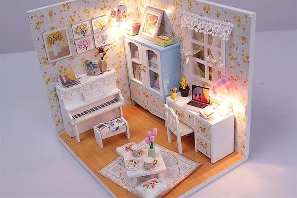 Assemble DIY Wooden Miniature 'Hemiola's Room' Doll house toy w/ LEDs and Dust cover Birthday Gift