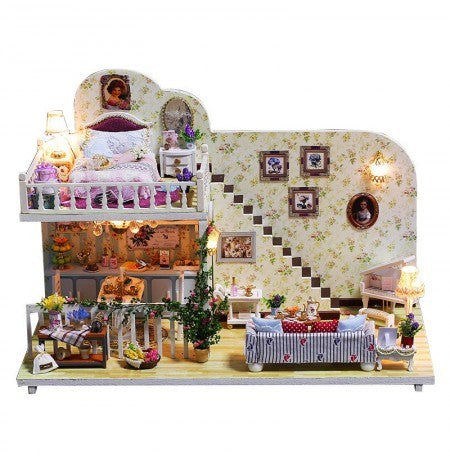 IIE CREATE Amsterdam in the Village (K023) Assemble Wooden Miniature Dollhouse w/LEDs, Dust Proof Cover and Glues Christmas Gifts