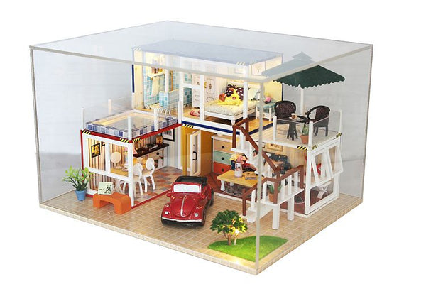 Hoomda DIY 13842 'Container Home B' Assemble Dollhouse Furniture Kits, Wooden Miniature Doll House w/ Dust Proof Cover, LEDs and Glues, Handmade Gifts Birthday Presents