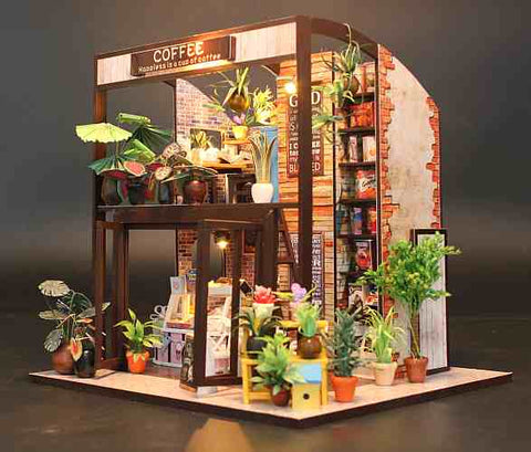 DIY Miniature Doll House Coffee House Shop w/ LEDs Handmade gifts Present for Boys and Girls Wooden Crafts Furniture Kits