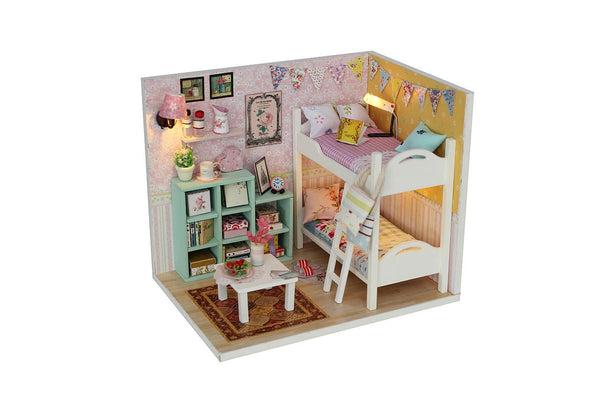 DIY M020 'Cheryl's Room' Wooden Kids Toy Miniature Dollhouse w/ LED Lights, Dust Proof Cover and Glue