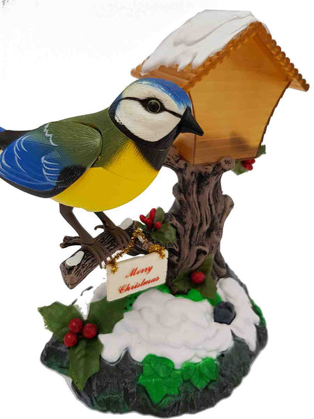 Sound Sensor Control Function Blue Tit Bird on the Tree House Home Garden Decor Children's Electronic Toy Bird Christmas Present