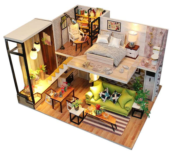 DIY M030 'Enjoy the Romantic Nordic' Wooden Miniature Dollhouse w/ Dust Cover, LEDs and remote control switch