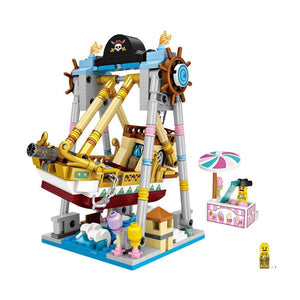 Amusement /Theme Park Pirate Ship 3 D Model DIY Mini Building Blocks (#1717)