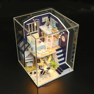 Assemble 'Shining Star' w/ LEDs, Dust Proof Cover and Glue Wooden Miniature Dollhouse Furniture Kits Gifts for Friend