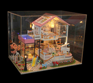 Hoomda DIY 13846 'Sweet Words' w/ LEDs and Remote Control Switch, Dust Proof Cover Wooden Miniature Doll House, Handmade Gifts Birthday Presents
