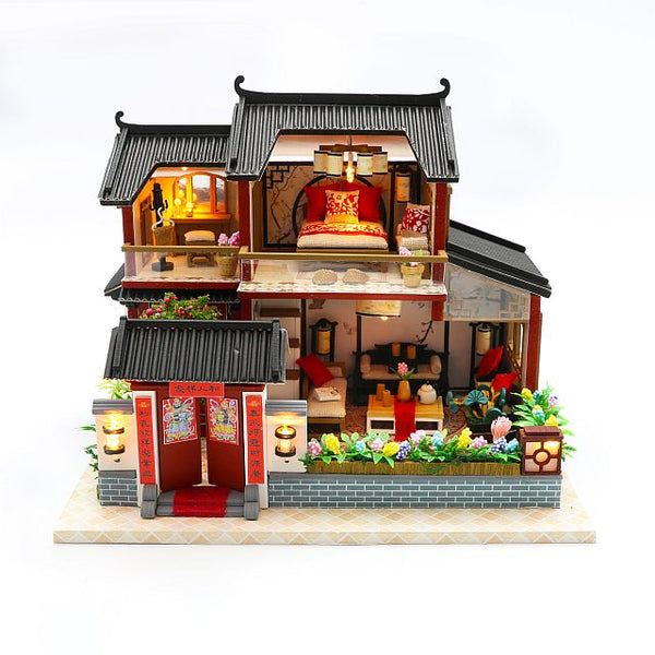 DIY M905 'Auspicious Sign Loft' w/ LED Lights,  Dust Cover and Glues, Wooden Miniature Dollhouse Furniture Kits