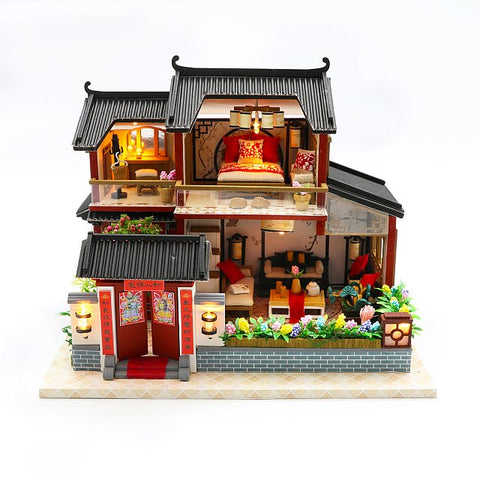 DIY M905 'Auspicious Sign Loft' w/ LED Lights,  Glues and Dust Cover Wooden Miniature Dollhouse Furniture Kits
