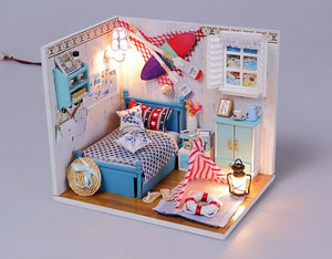 Assemble DIY Doll House Furniture Toy Kits 'Brandon's Room' Wooden Kids Toy Miniature Dollhouse w/ LEDs and Dust Proof Cover Fun Crafts