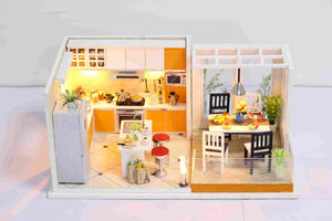 IIE CREATE Livable (K032) Assemble Wooden Miniature Dollhouse w/LEDs, Dust Proof Cover and Glues Birthday Gifts