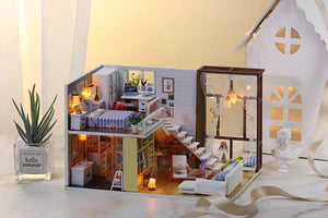 IIE CREATE Contracted City (K028) Assemble Wooden Miniature Dollhouse w/LEDs, Dust Proof Cover and Glues Birthday Gifts