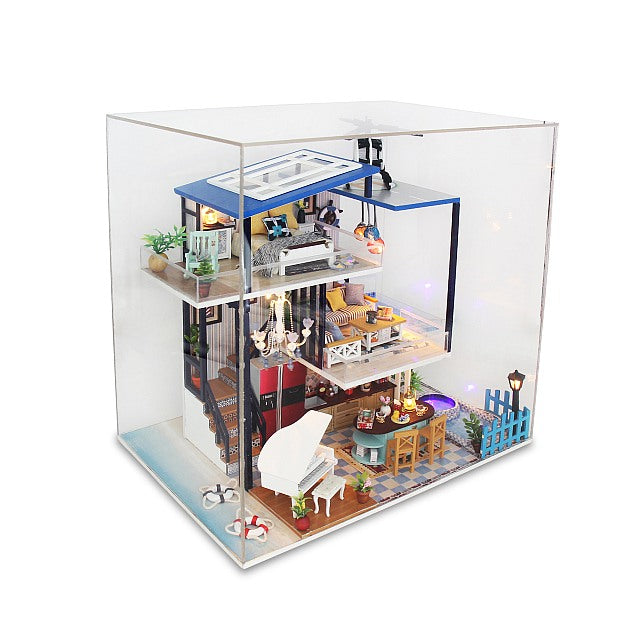 Hoomeda 13847 'Blue Romance' w/ LEDs, Dust Proof Cover and Glues Wooden Miniature Dollhouse Furniture Kits Dollhouse Handmade Gifts