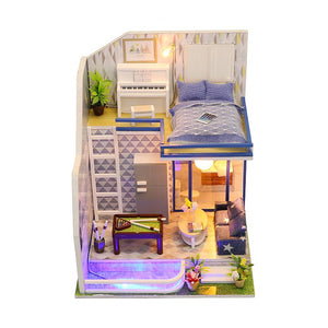 DIY M042 'Sapphire Love ' Wooden 1:12 Miniature Dollhouse Furniture Kits w/ LED Lights, Dust Proof Cover and Glue