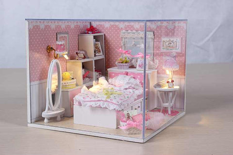 'Angel's Dream' Wooden Kids Toy Miniature Dollhouse w/ LEDs and Dust Proof Cover Unique Girl Presents