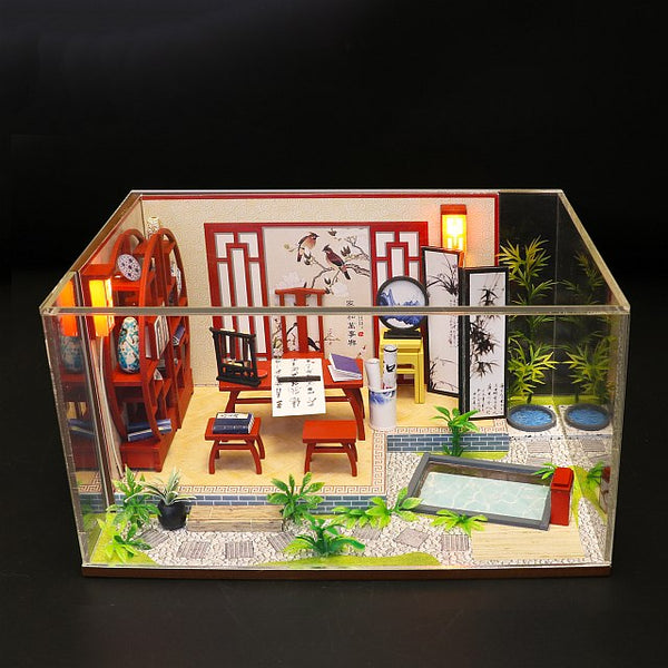 DIY S921 'Ink Bamboo in Breezing' Wooden Miniature Dollhouse w/ LEDs, Dust Proof Cover and Glue