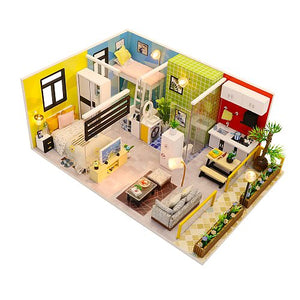 Hoomeda M043 'Simple Life' Wooden Miniature Dollhouse w/ LEDs, Dust Proof Cover and Glues