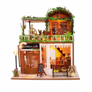 Hoomeda M906 'Rainbow Café' Wooden Miniature Dollhouse w/ LEDs, Dust Proof Cover and Glues
