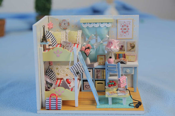 D014 'Youth Ever' Wooden Kids Toy Miniature Dollhouse w/ LED Lights, Dust Proof Cover and Glue