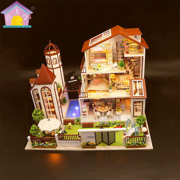 "Hoomeda Dollhouse Furniture Kits ""Love you all the way"" (L901) w/ LED Lights, Dust Cover and Glues Wooden Miniature Doll House  Handmade Gifts Birthday Presents"