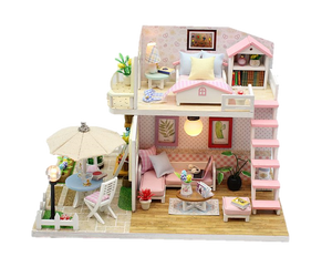 DIY M033 'Pink Loft' Wooden Kids Toy Miniature Dollhouse w/Dust Cover, LED Lights and Glue Present for Girls