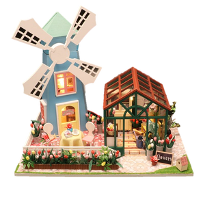 DIY M036 'Amsterdam Windmill Flower House' Wooden Miniature Dollhouse w/ LEDs, Dust Proof Cover and Music Movement