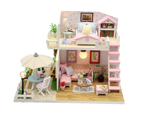 DIY M033 'Pink Loft' Wooden Kids Toy Miniature Dollhouse w/Dust Cover, Music Movement, LED Lights and Glue Present for Girls
