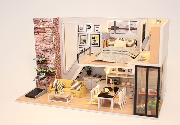DIY M038 'Give You Happiness' Wooden Miniature Dollhouse w/ LEDs, Dust Proof Cover and Glues