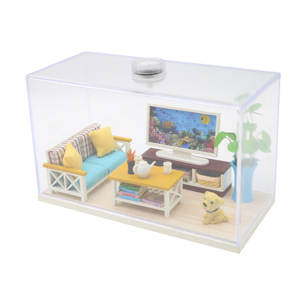 Assemble Wooden Miniature Doll House Room Furniture Kit 'Quite Days' DIY Furniture Doll House Miniature Gifts