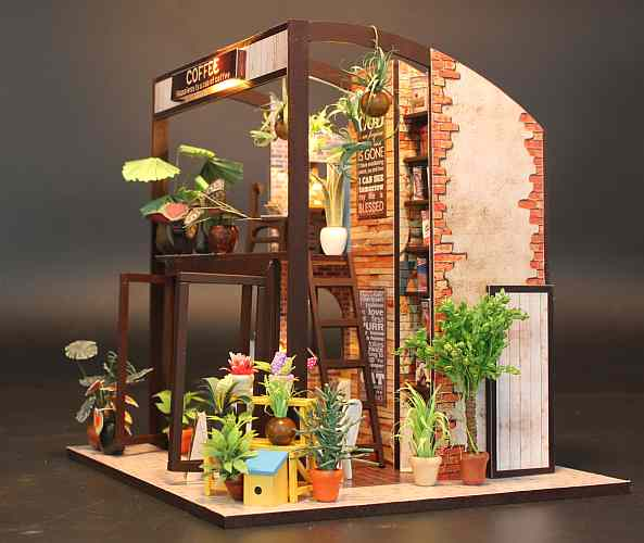 DIY Miniature Doll House 'Coffee Time' w/Dust Cover Glues and LEDs Handmade gifts Present, Wooden Crafts Furniture Kits (M027)