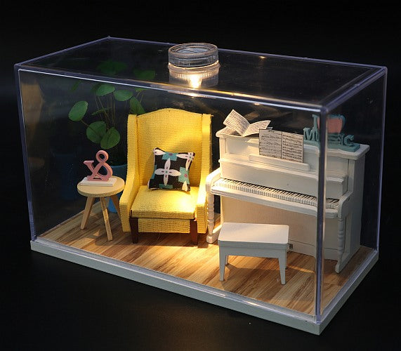 Assemble Wooden Miniature Doll House Room Furniture Kit 'The Voice of the Piano' DIY Doll House DIY Furniture Doll House and Miniature Gifts