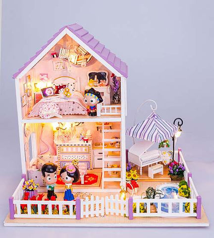 "Assemble Doll House ""Musical Summer"" Wooden Miniature Dollhouse Anniversary Gifts Birthday Presents"